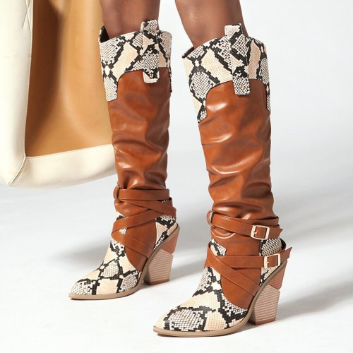 Best Quaity Urban Beauty Chic Snake Veins Knee High Heeled Boots Shoes Women Party Footwear