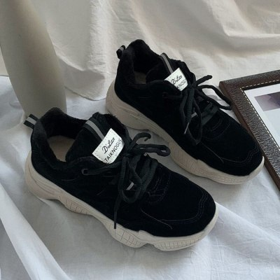 2020 Winter Sneakers Women  Fashion Platform Shoes Woman Chunky Vulcanize Sneakers Warm Plush Beige Black Sneakers for Women