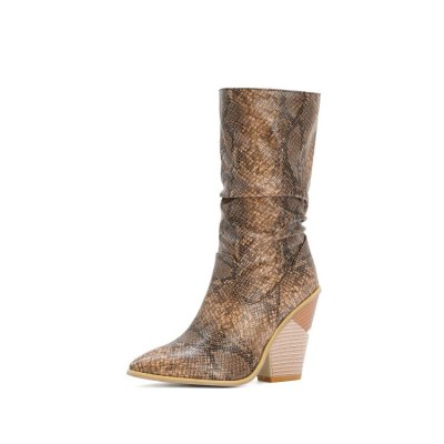 Women's  Mid-Calf Styles Boots Pointed Toe Wedges Western Cowboy Boots Winter Shoes Inside Short Plush Boots Shoes Women