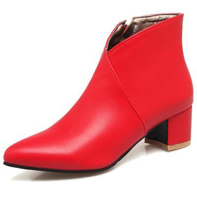 Square Heels Elegant Office Ladies Ankle Booties Women