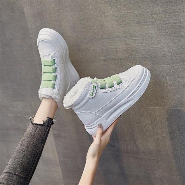 Warm cotton shoes women's winter 2020 new Student running shoes women's versatile Plush high top shoes