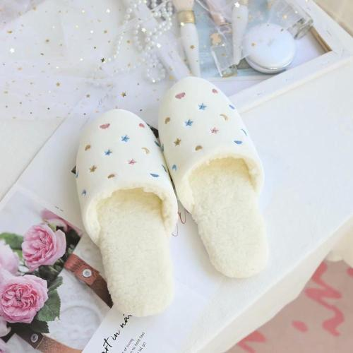 Lovely embroidered cotton slippers warm indoor floor board shoes warm shoes