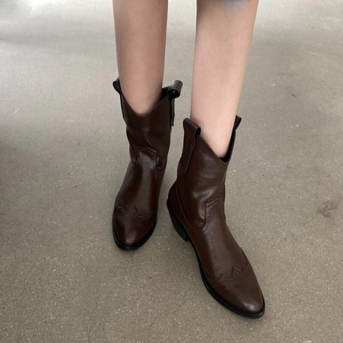 Women's Ankle Boots Pointed Toe Wedges Western Cowboy Boots Shoes Classic