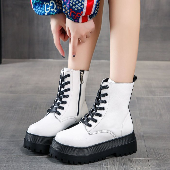 Platform Chunky Heels Ankle Boots Shoes Women