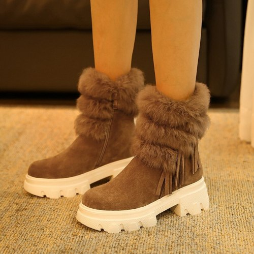 Women Boots Ladies Snow Boots Round Toe Platform Chunky Heels Zipper Trend Ankle Boots
