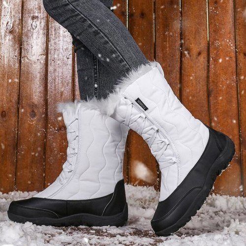 Women's Shoes 2020 New Winter Snow Boots  Booties Lining Plush Fleece Ankle Boots Shoes Lady Non-Slip Waterproof Cozy Shoes