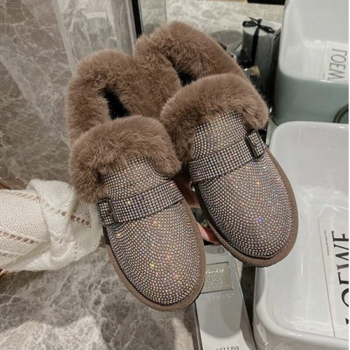 2020 New Crystal Warm Snow Boots Women Flats Heel Colorful Rhinestones Diamonds Winter Plush Fur Shoes Woman
