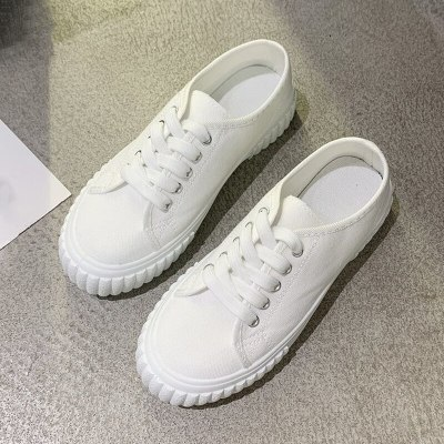 2020 Spring Autumn Casual White Sneakers Women Help Low Classic flat Canvas Shoes Lace up Summer Walking Flats Vacation shoes