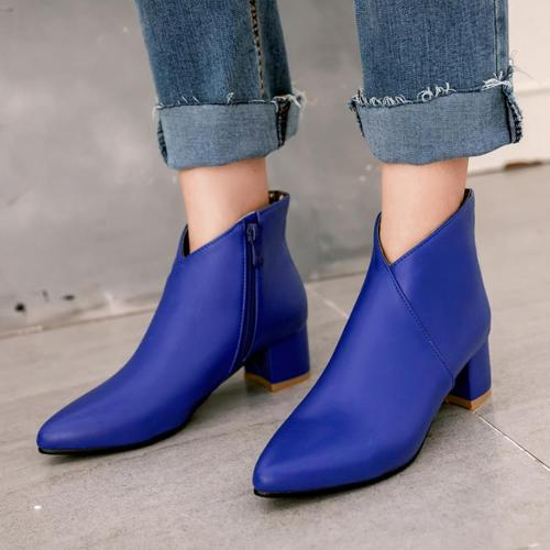 Square Heels Pointed Toe Elegant Office Ladies Ankle Booties Autumn Winter Short Boots Shoes Women