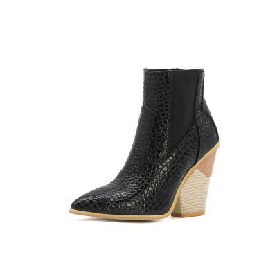 Leather Ankle Boots Pointed Toe Wedges Cowboy Boots Shoes Short Boots