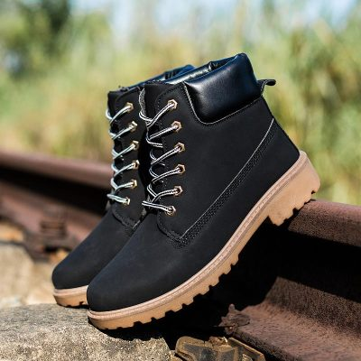 Shoes Winter Snow Boots Work Shoes Men PU Leather Lace-up Ankle Military Boots
