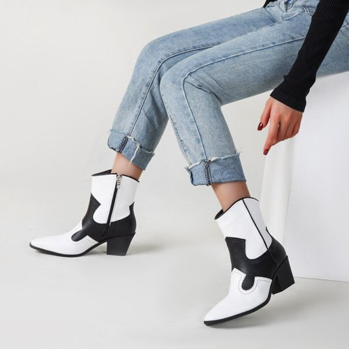 Women's Shoes Leather Ankle Boots Western Cowboy Boots Thick High Heel Short Boots Round Toe Fashion Shoes
