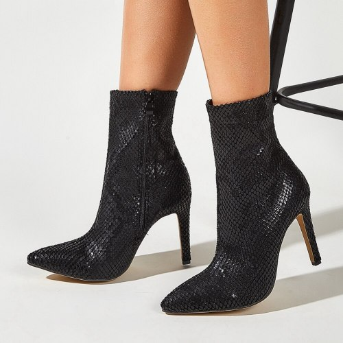 Elegant trendy sequined office lady ankle booties thin high heels boots shoes women footwear
