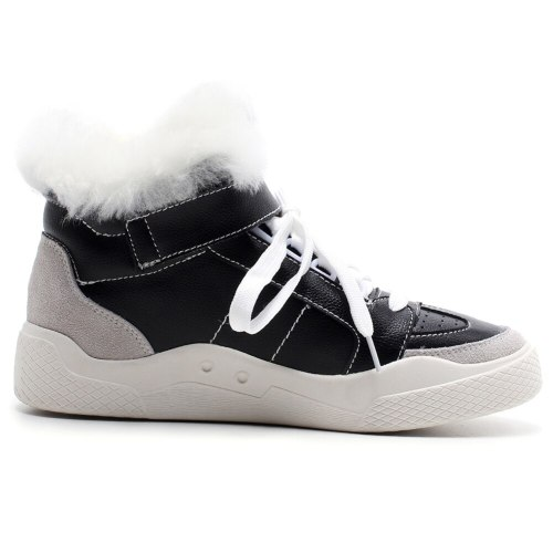 Fashion Leather Flat Ankle Boots Keep Warm Fur Winter Snow Boots
