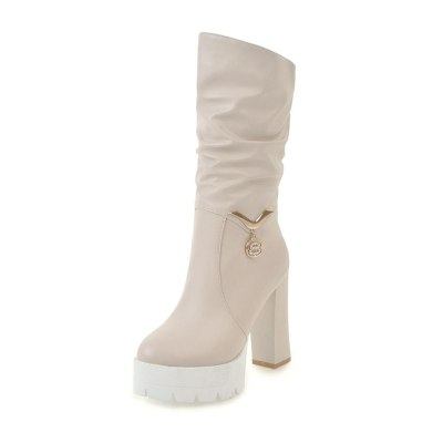 Square high heels mid-calf fashionable winter boots shoes women