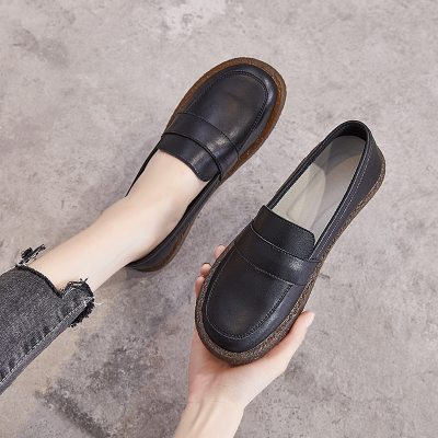 Spring Summer Women Shoes Soft Bottom Genuine Leather Loafers Pregnant Shoes  Non-Slip Breathable Walking Oxford Flat