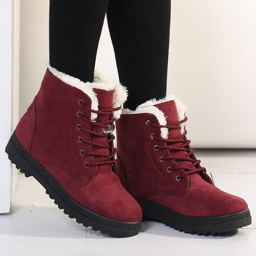 Women Boots Warm Snow Boots Heels Winter Boots Female Fur Plush Insole Ankle Boots For Women Shoes Winter Warm Botas