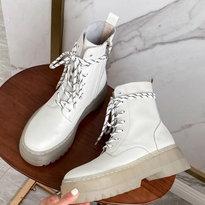Female Boots Split Leather White Chunky Heels non-slip Platform Shoes Motorcycles Boots