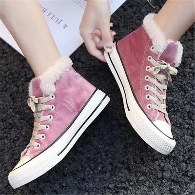 New 2020 Winter Vulcanized Snow Boots Women Suede Leather Sport Shoes Female Outdoor Cotton-padded shoes Warm Sneakers