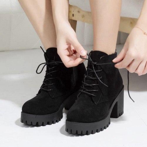 Platform Faux Suede Leisure Square Heels Ankle Boots Shoes Women