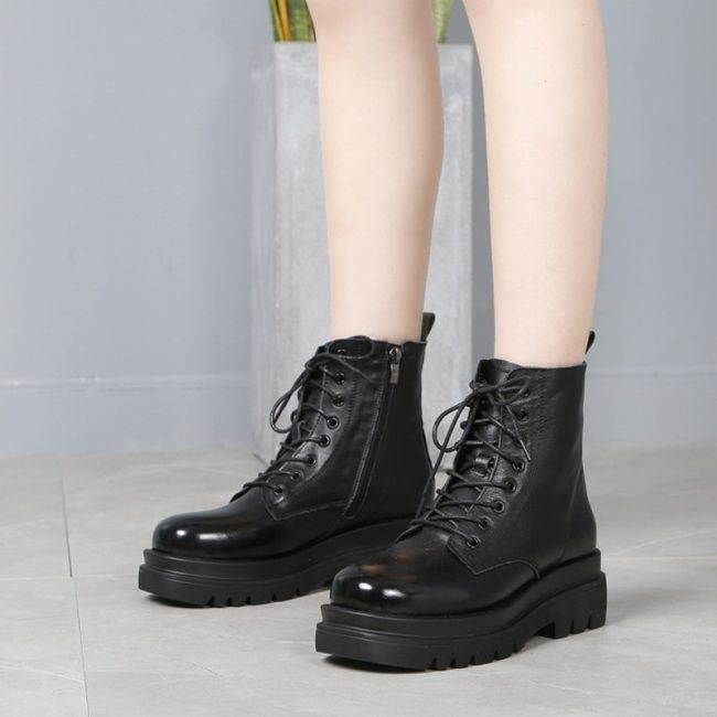 Comfortable Cow Leather Lace Up Ankle Boots Genuine Leather Platform High Top