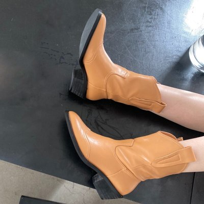 Women's Ankle Boots Pointed Toe Wedges Western Cowboy Boots Autumn Winter Shoes Classic Cowgirl Boots Shoes Women