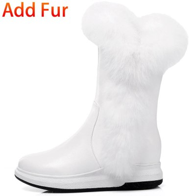 Keep Warm Fur For Cold Winter Boot Shoes Women Leisure Faux Leather Calf Boot