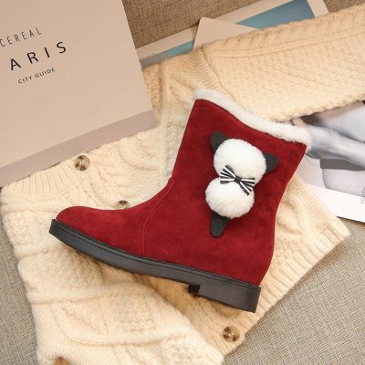 Felt Boots 2020 Autumn and Winter New Snow Boots Ladies Warm Red Princess Snow Boots Christmas Shoes Women