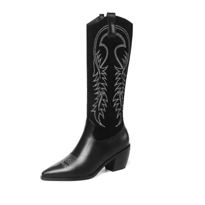 Pu Leather Western Cowboy Boots Short Plush Cowgirl Boots Pointed Toe Boots Shoes Women Plus Size