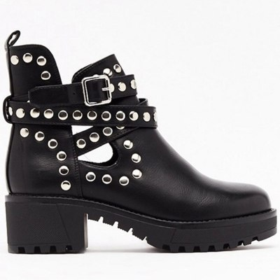High Quality Platform Square Heels Fashion Spring Autumn Ankle Boots Shoes Women Cool Punk Style Motorcycles Boot