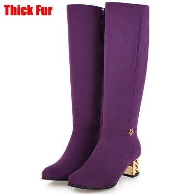 Square Heels Purple Green Add Fur Winter Knee Boots Shoes Women