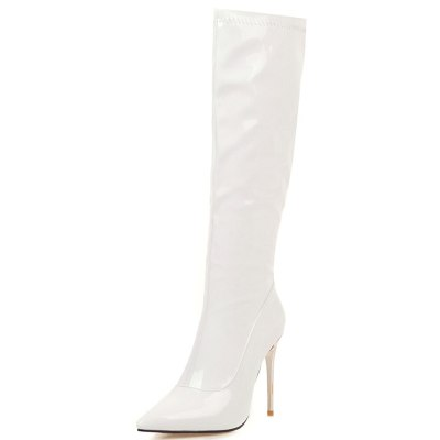 High Heels Winter Stiletto Boots Shoes Women Sexy Party Faux Patent Leather Knee Boot