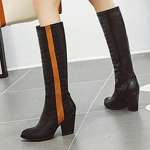 Chunky Heels Walk On Wide Fit Boots Winter Shoes Women