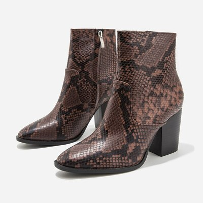 Ankle Boots for Women Pattern PU Leather High Heels Booties Shoes