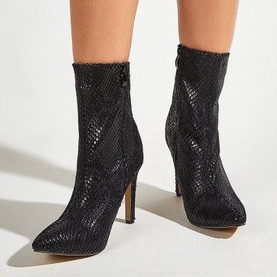Elegant Trendy Office Lady Ankle Booties High Heels Shoes Women Footwear