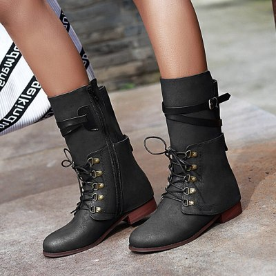 Wearable Shoelaces Vintage Design Calf Boot Fashion Cool Boots Shoes Women