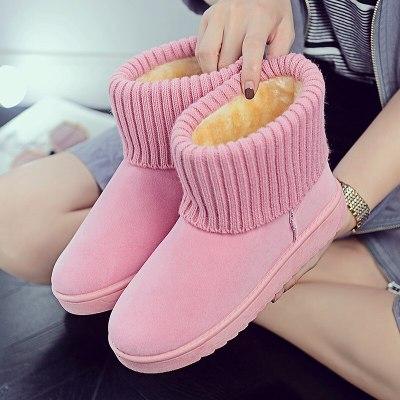 Warm Winter Snow Boots Pink Flat Bottom Round Toe Women Flat Snow Boots Non-slip Fur Women Winter Boots