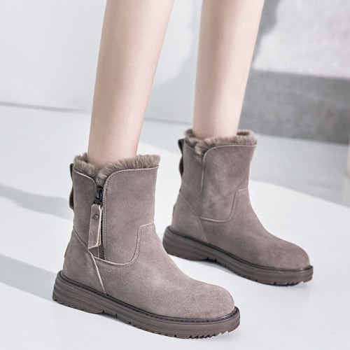 2020 Genuine Leather Winter Zipper Fur Warm Plush Ankle Snow Boots With Platform Low Heels Short Booties Women Flat Shoes