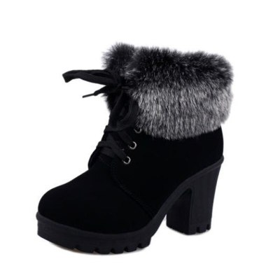2020 Winter Shoes Women Winter Boots Fashion Women High Heel Boots Plush Warm Fur Shoes Ladies Brand Ankle