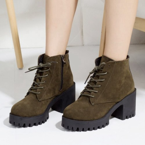 Platform Skidproof Sole Shoelaces Faux Suede Booties Leisure Square Heels Ankle Boots Shoes Women