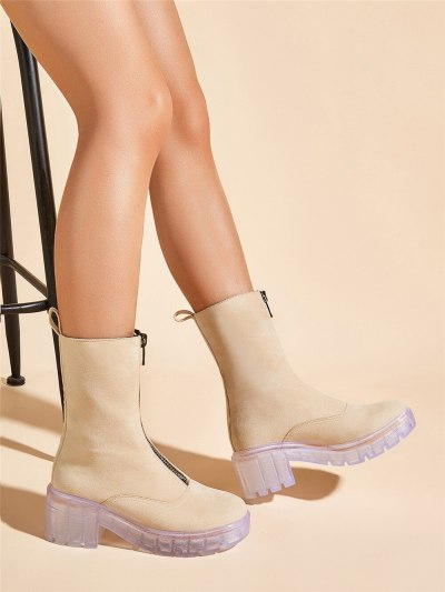 New arrivals Best Quality Clear Heels Platform Autumn Winter Women Boots Shoes Fashion Front Zipper Leisure Boots Shoes