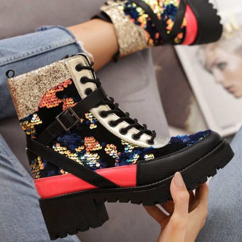 Square Heels Belt Buckle Shoes Leisure Ankle Boots Street Cool Brand Motorcycles Boots Women