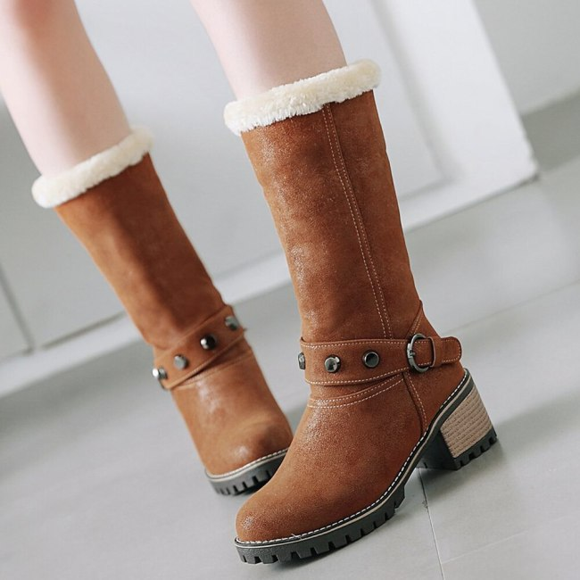 Skidproof Sole Square Heels Keep Warm For Cold Winter Walk In The Snow Boots Shoes Women Calf Boot