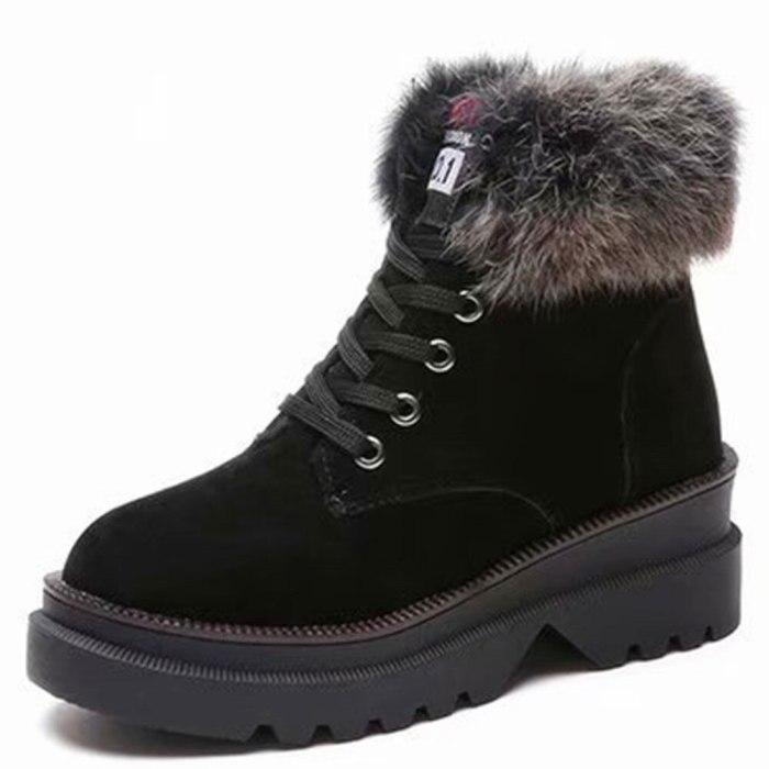 Heels Ankle Booties Warm Plush Fur Shoes Women Snow Boots