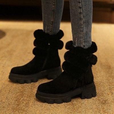Women Boots Winter Shoes Woman Warm Plush Ladies Snow Boots Round Toe Platform Chunky Heels Zipper Fur 2020 Trend Ankle Boots