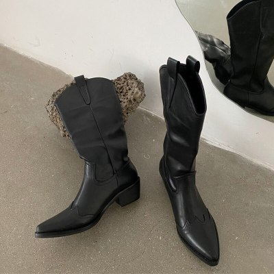 Western Cowboy Boots Pointed Toe Vintage Slim Boots Thick Bottom Boots Autumn Winter Boots Non-Slip Shoes Women