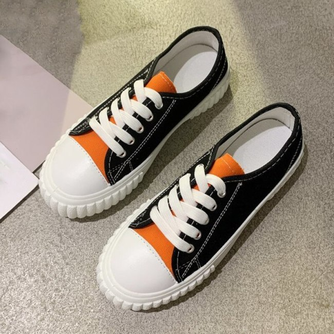 Spring Autumn Casual Sneakers Women Help Low flat Canvas Shoes Mixed colors Flats Vacation shoes