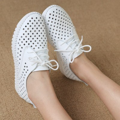 Summer sneaker women platform shoes female Genuine Leather Walking flat sandals for women Breathable Comfort Vacation shoes