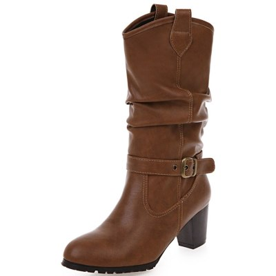 Chunky High Heels Slip On Vintage mid-calf Boot Winter Western Boots Shoes Women