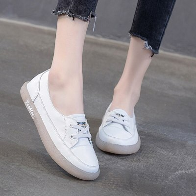 Women Flats Spring Summer White Shoes Genuine Leather Vantage Loafers Non-Slip Pregnant Shoes Breathable Walking Oxford Flat